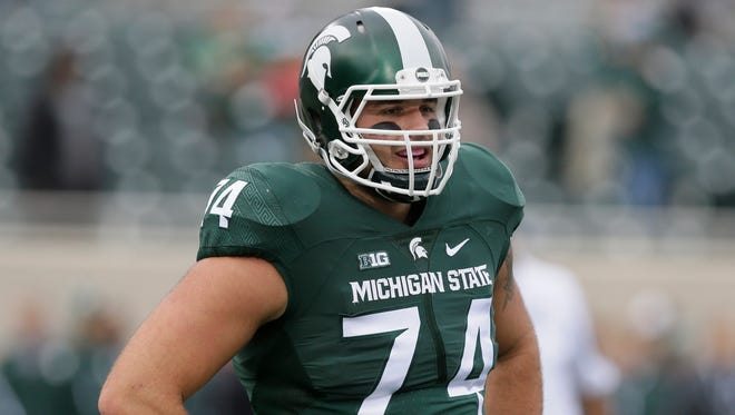 """No. 12: Jack Conklin, offensive tackle, 2012-present. Size: 6-6, 325. Wore: No. 74. From: Plainwell. Stats: 38 games, 37 starts. Honors: Second-team All-America ('15), All-Big Ten ('15), second-team All-Big Ten ('14). The buzz: Conklin may be as talented as any player the Spartans ever have had at left tackle. And this was a """"zero-star"""" recruit who had to walk on at first. Conklin has silenced Ohio State's Joey Bosa and shut down Nebraska's Randy Gregory, and he returned from a knee injury suffered early in his junior season to dominate late in the season."""