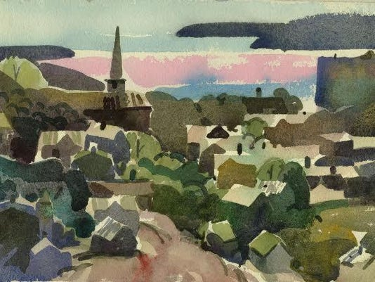 Staats Fasoldt, View of Poughkeepsie, watercolor on paper