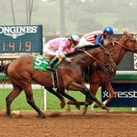 On the outside, Firing Line, for the second straight race, finished second by a head to Dortmund in the Feb. 7 Robert B. Lewis Stakes at Santa Anita.