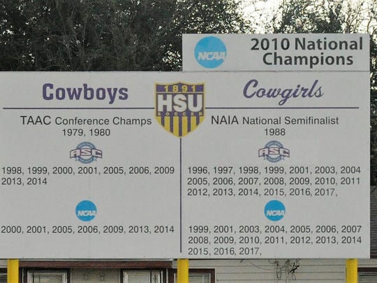 The accomplishments of the Hardin-Simmons soccer teams are posted at the HSU Soccer Complex including the 2010 national championship.