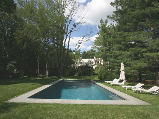 The pool at a home in Bedford that is currently for sale.