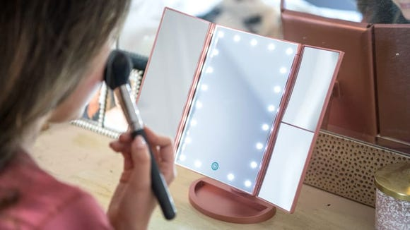 Best gifts under $50: Deweisn Tri-Fold Lighted Vanity Makeup Mirror
