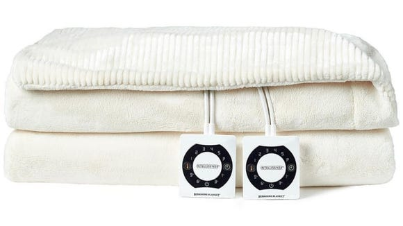 This electric blanket has two controllers for dual warmth zones.
