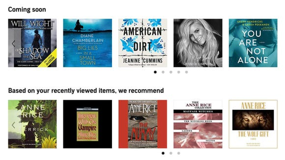 Audible also offers personalized recommendations based on your browsing history.
