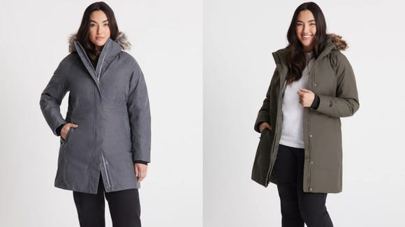 This puffy parka has some flattering details.