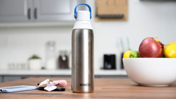 Every sip will be cold with the Brita Stainless Steel Filtering Water Bottle.