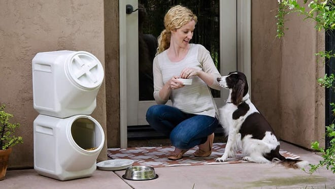 These stacking dog food containers have thousands of positive reviews.