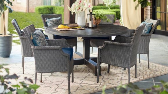 Gray wicker chairs are perfect for fall.