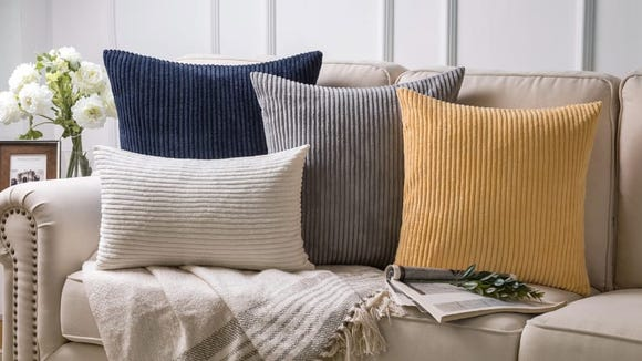 These cozy throw pillows have a corduroy-inspired fabric.