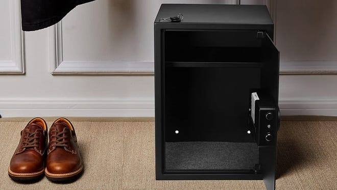 This safe can be bolted to the floor or wall in your new home.