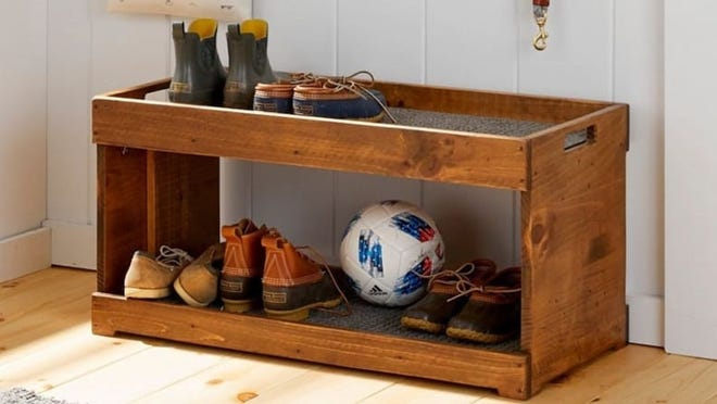This handsome wooden boot tray is sure to earn you compliments.