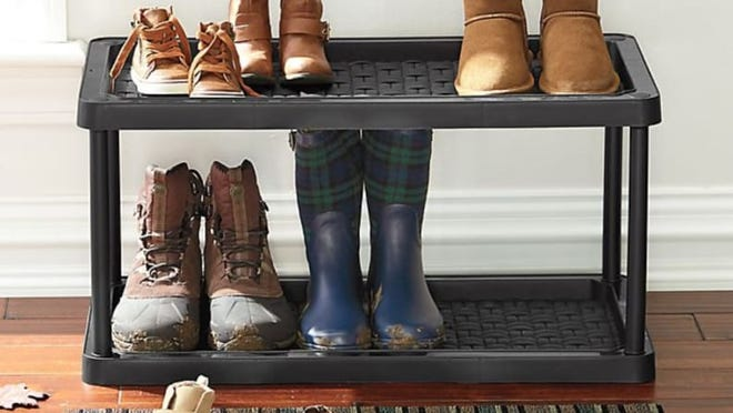 Store twice as many shoes on this double-decker tray.