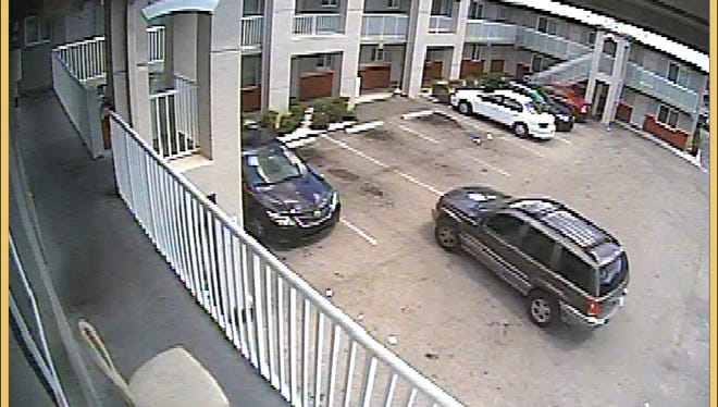 Image of Jeep that police said shots were fired from into an apartment on Broadway Avenue on  Monday.