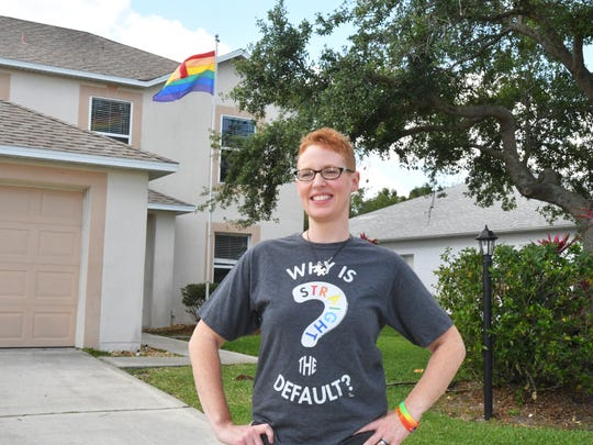 Rockledge resident Jenifer Raymond put up this gay pride rainbow flag about two years in the front yard of the home she rents