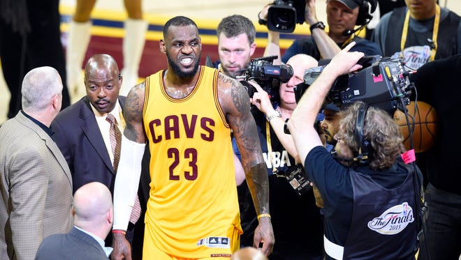 LeBron James reacts after winning Game 3 of the NBA Finals.