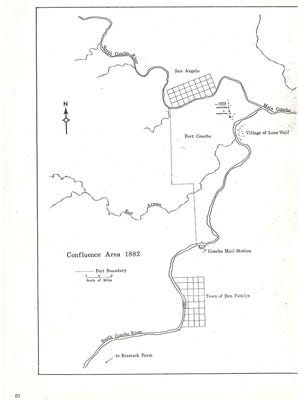 A map of Ben Ficklin courtesy of Fort Concho's archives.