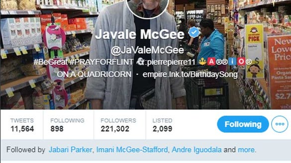 JaVale McGee changed his Twitter profile to Jon Stewart's horrified face