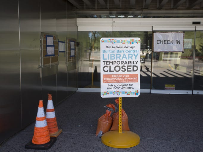 A sign outside of the Burton Barr Central Library tells
