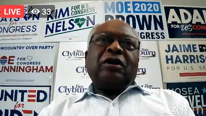 U.S. Rep. Jim Clyburn, D-South Carolina, speaks with Ohio Democrats via an online gathering on Thursday afternoon.