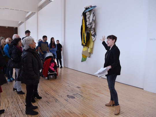 Alex Klein, Curator from the Institute of Contemporary Art, University of Pennsylvania, leads a gallery talk on the art of John Chamberlain during the Dia:Beacon's Community Free Day on Saturday.