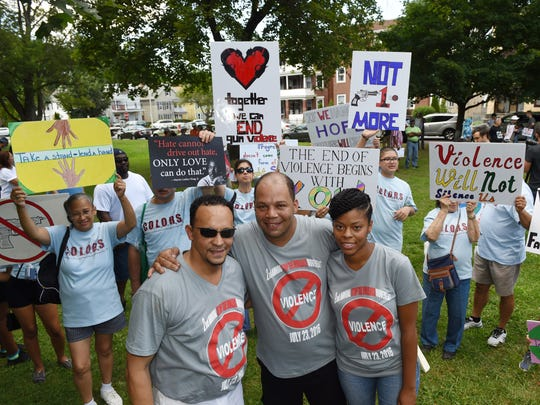Stop the Violence March coordinators, from left, Joe