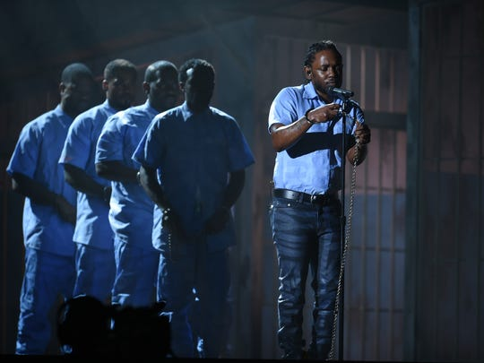 Kendrick Lamar performs during the 58th Grammy Awards