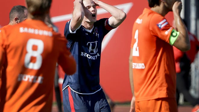 Indy Eleven, still without a win this season, has faced consistent adversity. Here, Justin Braun (17) reacts to missing a game-winning goal Saturday, April 1, 2017.