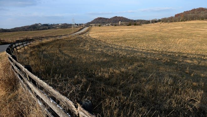 The 2,000-acre parcel proposed for development along West Harpeth Road on Wednesday, Dec. 7, 2016, in Thompson Station, Tenn.