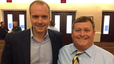 Rob Hill, a gay Methodist pastor, is the new director of the Human Rights Campaign in Mississippi. Hill, left, is pictured here with Waveland Mayor David Garcia on May 21, 2014, when the city passed a non-discrimination resolution supported by the HRC.