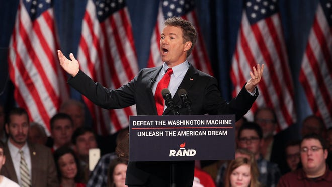 Sen. Rand Paul announces that he will be seeking the White House in 2016 during a speech at the Galt House in Louisville.  Apr. , 2015