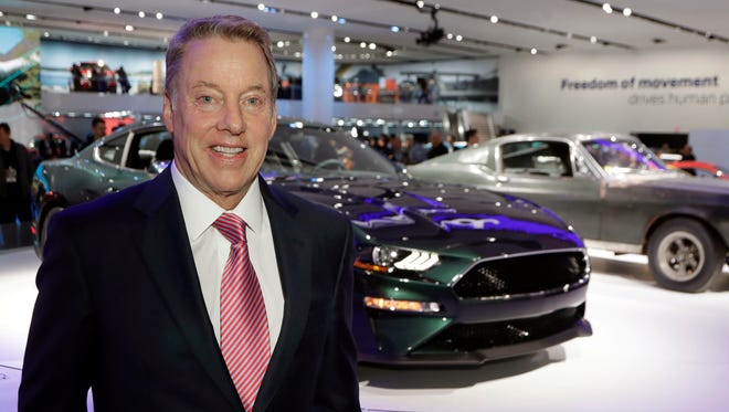 Ford Motor Co., Executive Chairman Bill Ford stands next to the 2019 Mustang Bullitt and the original Bullitt on the floor at the North American International Auto Show in January 2018 in Detroit.