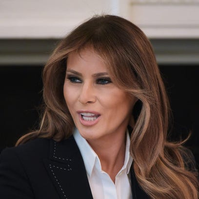 First lady Melania Trump speaks during a round table