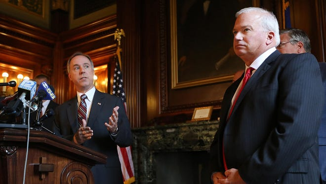 Wisconsin Assembly Speaker Robin Vos, R-Rochester, left, speaks about the ongoing state budget deliberations during a press conference held by the Republican legislative leaders as Senate Majority Leader Scott Fitzgerald, R-Juneau, looks on on Wednesday, July 1.