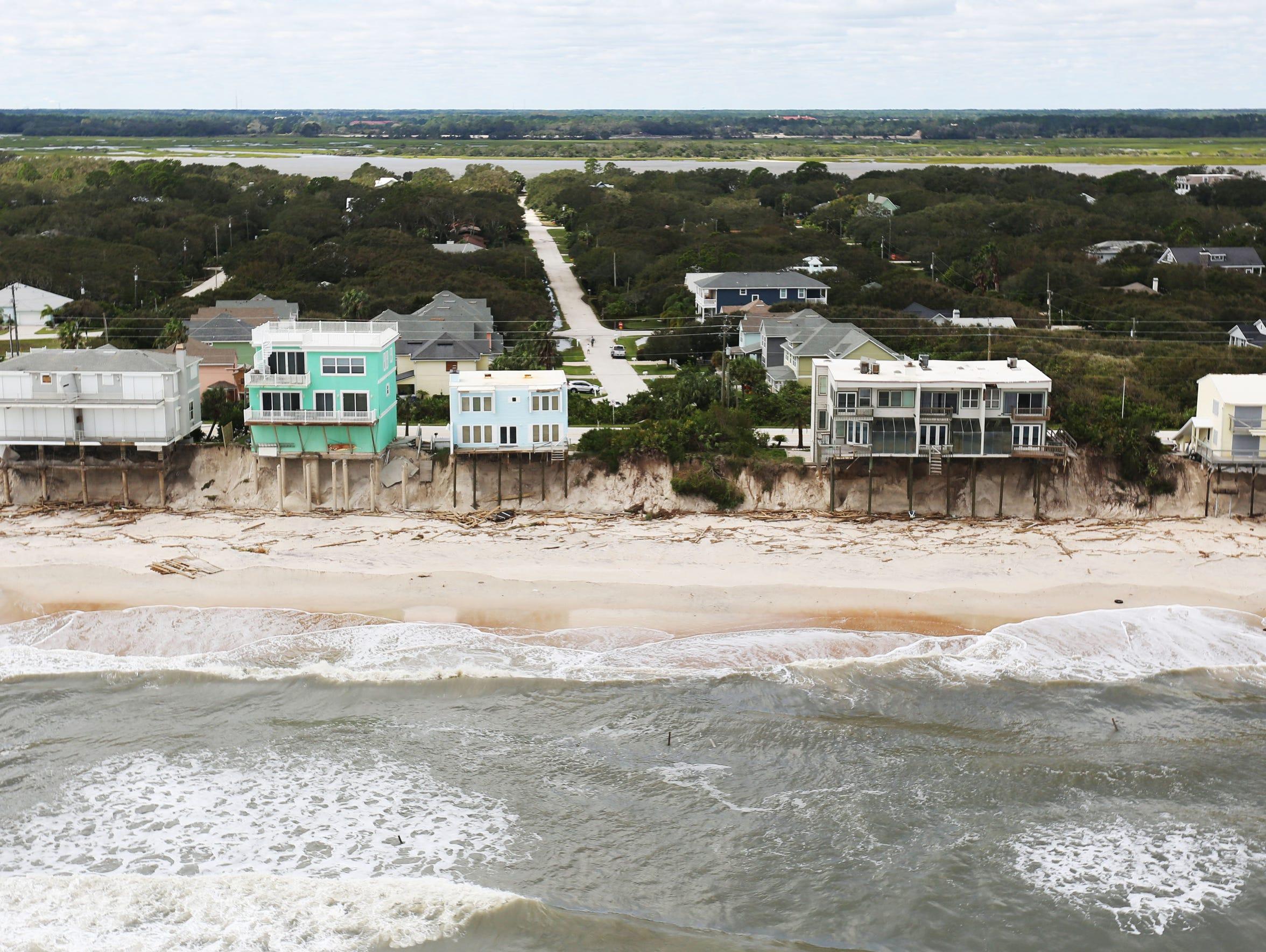 Beach erosion from Hurricane Matthew can be seen along