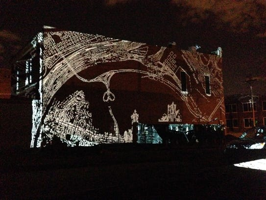 A projection by artists Tiffany Carbonneau and Susana