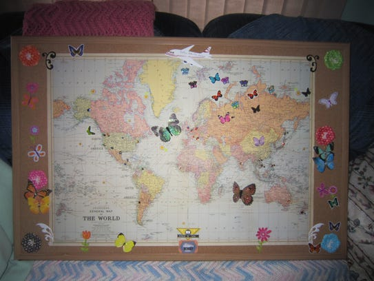 A world map depicting where in the world Betty's butterflies