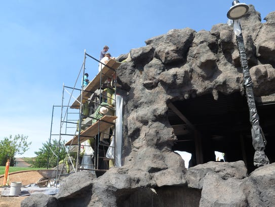 """Crews work to finish construction of the """"Thunder Junction"""""""