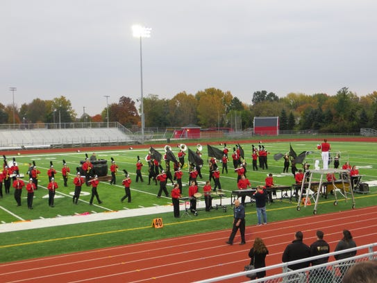 The Livonia Franklin High School marching band put
