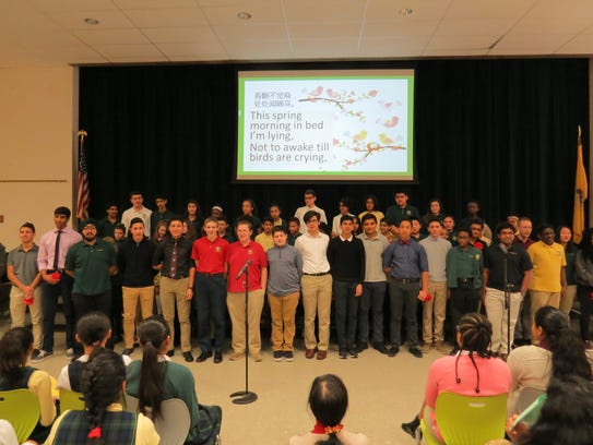 Upper School Mandarin students share a song in Chinese