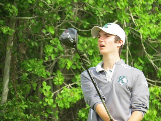 Konnor Hinz of Kinnelon watches his tee shot during