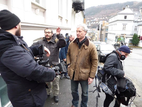 """Tommy Naess on the set of """"Noora."""""""