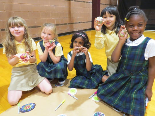 First graders Gabby Maciorowski of Neptune City, Sophia