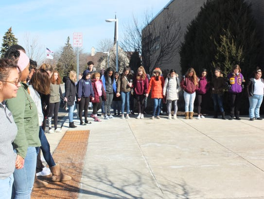 Students formed a circle and had a moment of silence