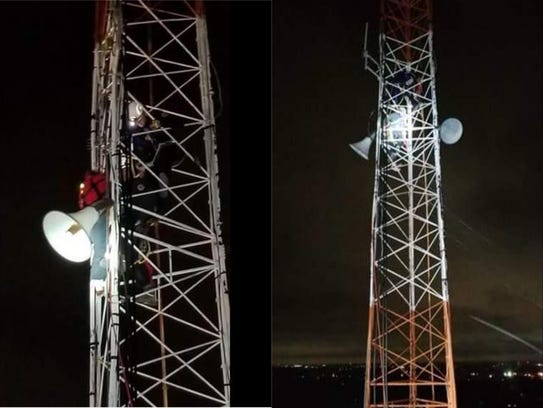 A 21-year-old male was rescued from the top of a tower