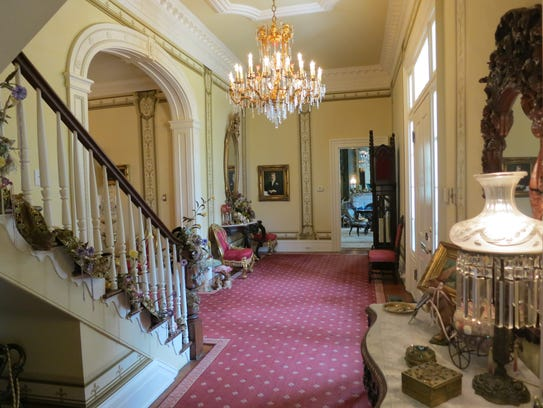 The foyer of The Towers, an antebellum home in Natchez,
