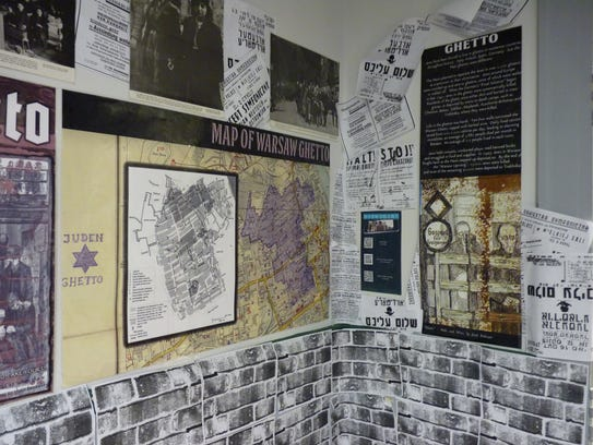 Wall decorations at the 2018 Holocaust exhibit at North