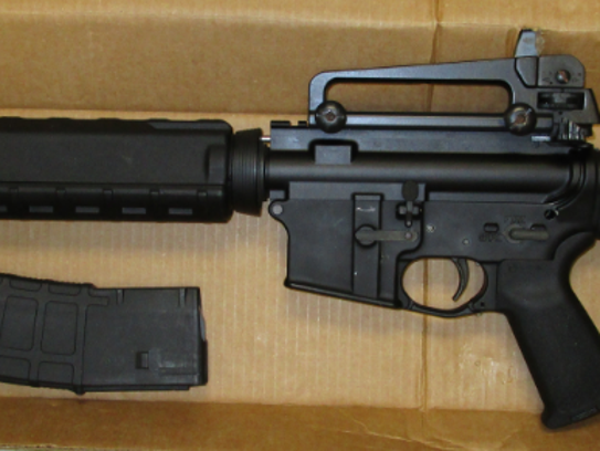 A rifle seized by Salisbury police during a May 26,