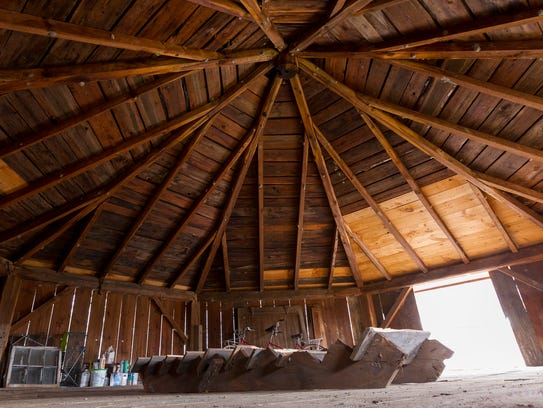 the upper level of the eight sided barn that the Strebal
