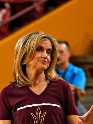 ASU head coach Charli Turner Thorne chats with ESPN analyst Gail Goestenkors during practice for the Sun Devil's NCAA first round game against New Mexico State at Wells Fargo Arena in Tempe on March 17, 2016.