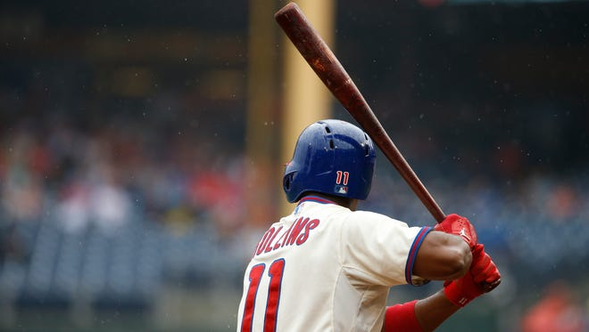 Philadelphia Phillies' Jimmy Rollins in action during a baseball game against the San Diego Padres, Thursday, June 12, 2014, in Philadelphia. (AP Photo/Matt Slocum)